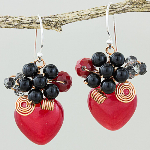 Heart Shaped Red Quartz Onyx and Glass Bead Dangle Earrings 'Love Garden in Red'