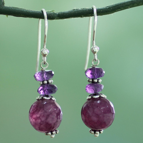 Indian Amethyst Agate and Sterling Silver Dangle Earrings 'Graceful Amethyst'