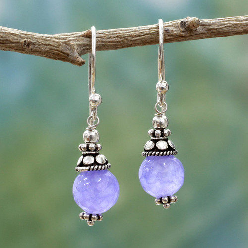Sterling Silver Agate Earrings Handmade in India 'Magical Glow'