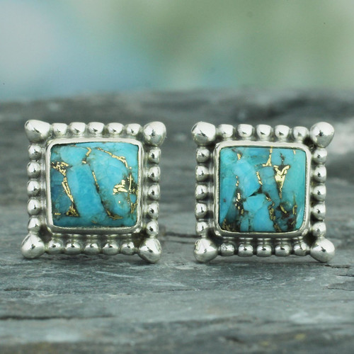 Composite Turquoise Stud Earrings Handmade in India 'Magical Blue'