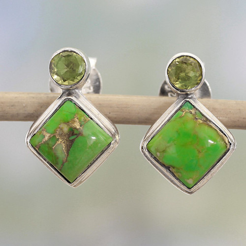Indian Peridot Earrings with Composite Green Turquoise 'Green Sparkle'