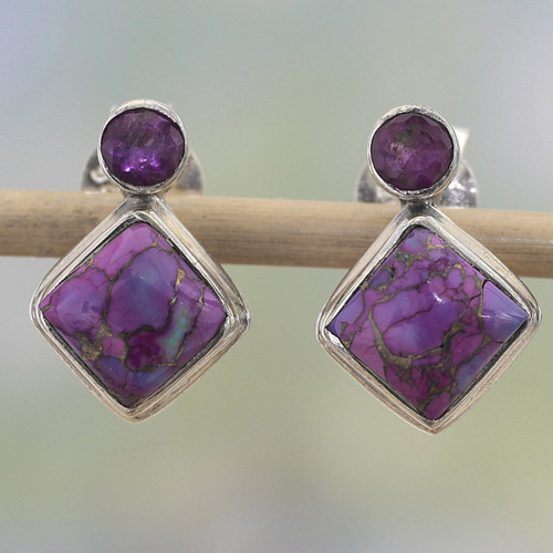 Indian Amethyst Earrings with Composite Purple Turquoise 'Purple Sparkle'