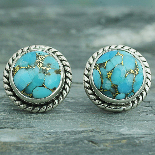 Sterling Silver Composite Turquoise Stud Earrings 'Cool Aqua Radiance'