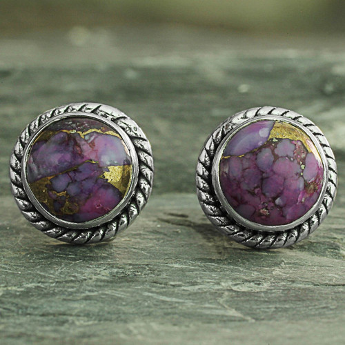 Purple Composite Turquoise Stud Earrings with Silver 925 'Purple Radiance'