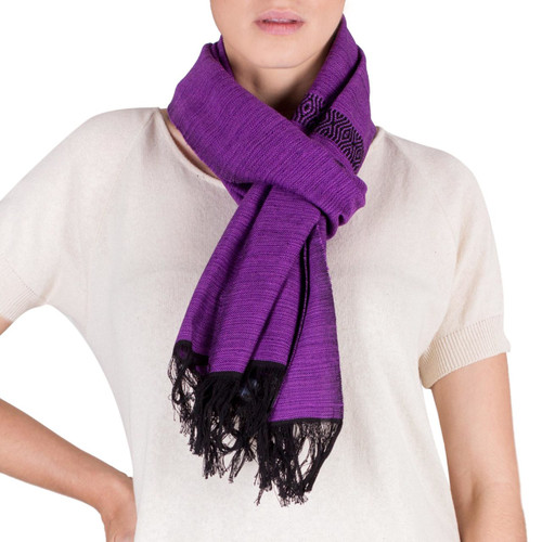Purple and Lilac Cotton Scarf Hand Woven in Guatemala 'Mesmerizing Lavender'