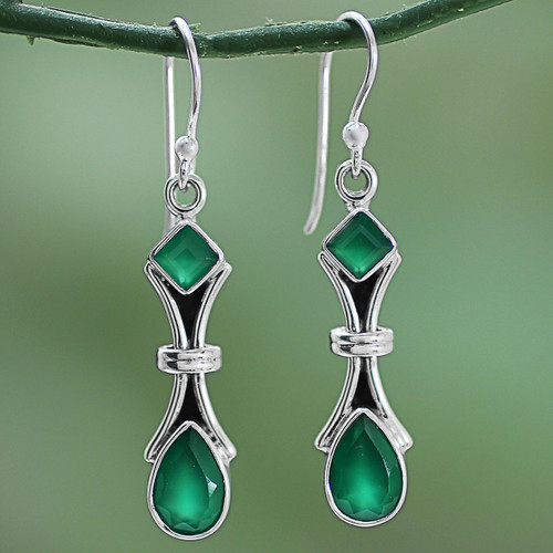 2.5 Carat Green Onyx and Sterling Silver Earrings from India 'Magical Moss'