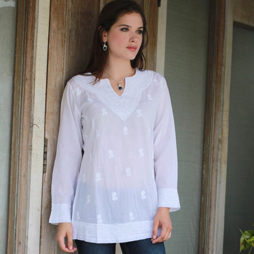 White Cotton India Tunic with Hand Embroidered Floral Theme 'Florid Fantasia'