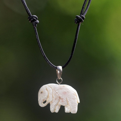 Hand Made Bone Pendant Necklace Elephant from Indonesia 'Stoic Elephant'
