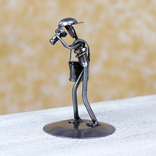 Rustic Photographer Handcrafted Recycled Auto Part Sculpture 'Rustic Photographer'