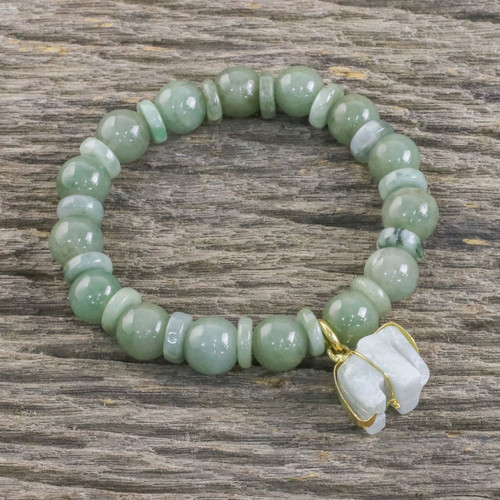 Jade Beaded Bracelet Handmade in Thailand with Elephant 'Jade Elephant'