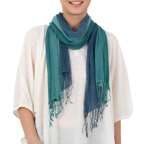 Hand Woven Silk Scarf in Teal Celadon Azure from Thailand 'Elusive Summer'