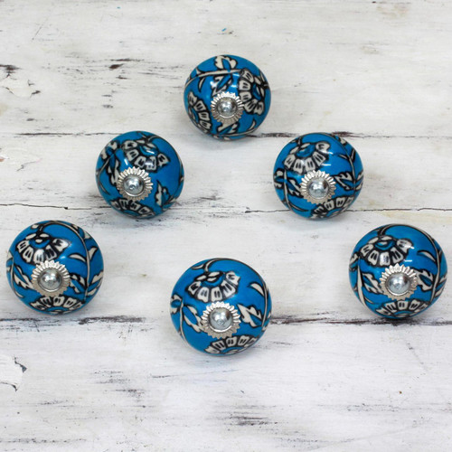 Ceramic Cabinet Knobs Floral Blue and White (Set of 6) India 'Charming Blue Flowers'