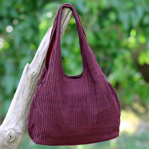 100% Cotton Textured Shoulder Bag in Wine from Thailand 'Thai Texture in Wine'