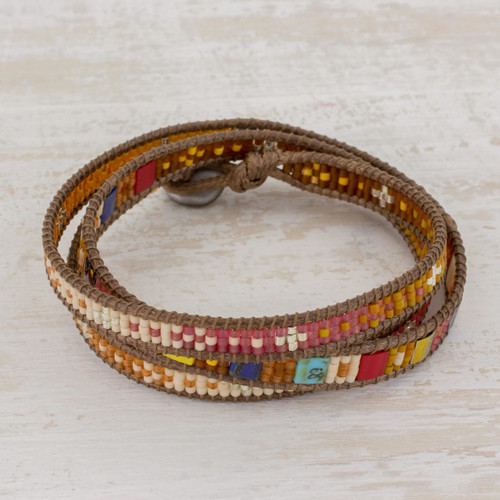 Beaded Wrap Bracelet Multicolor Multi Cord from Guatemala 'Colorful Dance'