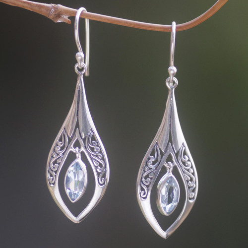 Sterling Silver Blue Topaz Dangle Earrings Indonesia 'Blue Teardrops'