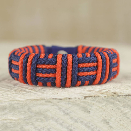 Blue and Orange Cord Striped Bracelet Handmade in Ghana 'Blue and Orange Kente Power'