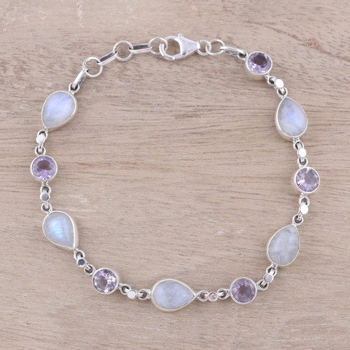 Handmade Amethyst Rainbow Moonstone Link Bracelet from India 'Misty Lilac'