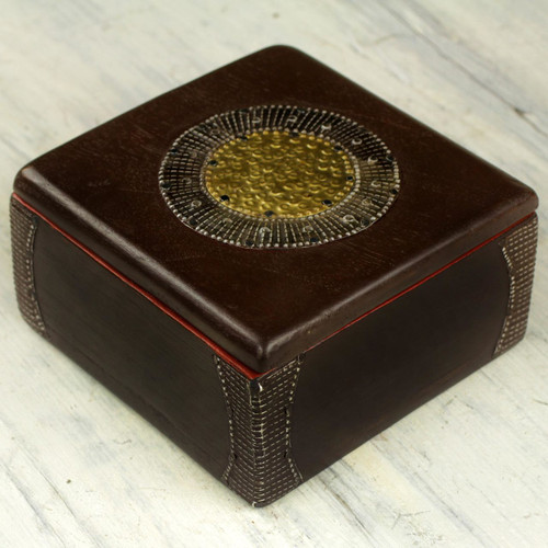 Hand Made Wood Box Aluminum Accent from Ghana 'Ghanaian Keepsake'