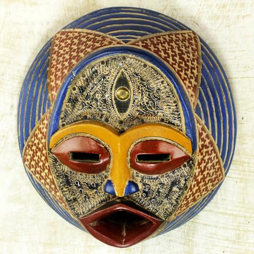 Ewe Culture African Wood Mask Handmade by Ghana Artisan 'Kafuinam'