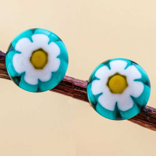 Chamomile Blown Glass Studs with 925 Silver Posts 'White Chamomile'