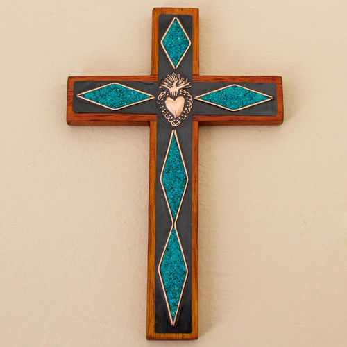 Chrysocolla Copper Bronze Wood Cross Wall Decor from Peru 'Chrysocolla Cross'
