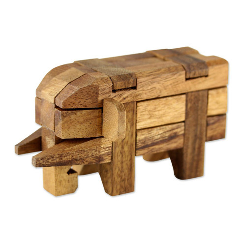 Rain Tree Wood Elephant Puzzle from Thailand 'Elephant Puzzle'