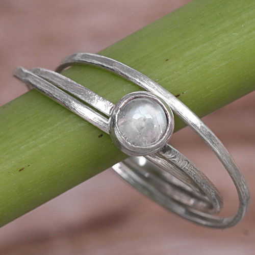 Rainbow Moonstone and Sterling Silver Solitaire Ring 'Magical Force'