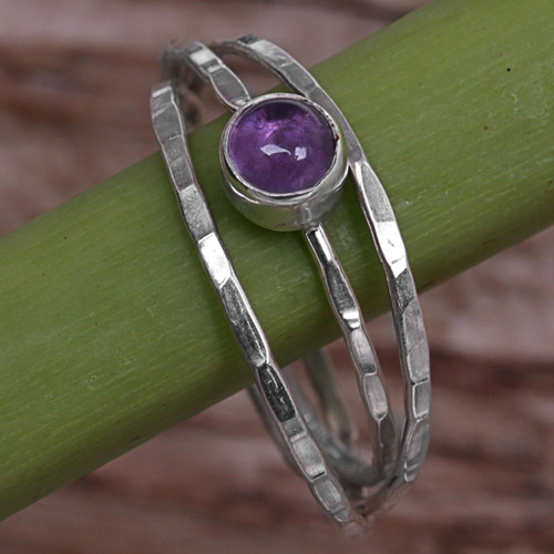 Amethyst and Sterling Silver Solitaire Ring from Indonesia 'Magical Essence in Purple'