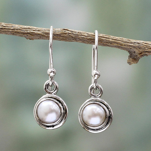 Sterling Silver Cultured Pearl Dangle Earrings from India 'Purest Love'