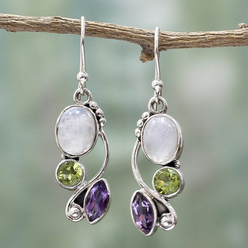 Multi-Gemstone Dangle Earrings Peridot Amethyst from India 'Natural Glamour'