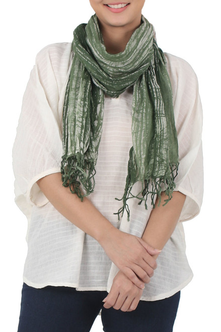 Batik Tie-Dyed Cotton Scarf in Moss Green from Thailand 'Speckled Field in Moss'