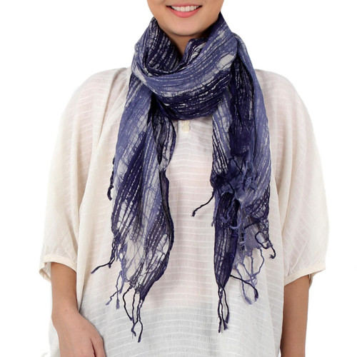 Batik Tie-Dyed Cotton Scarf in Blue-Violet from Thailand 'Speckled Field in Iris'