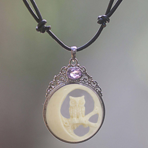 Bone Sterling Silver Amethyst Pendant Necklace Indonesia 'Nighttime Owl'
