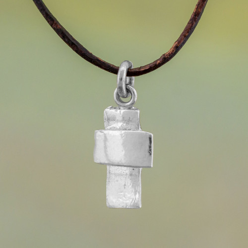 Guatemalan Fine Silver and Leather Cross Pendant Necklace 'Faithful Dependance'