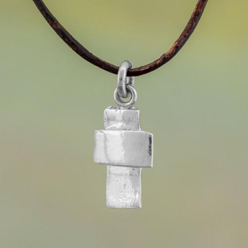 Guatemalan Fine Silver and Leather Cross Pendant Necklace 'Faithful Dependance'