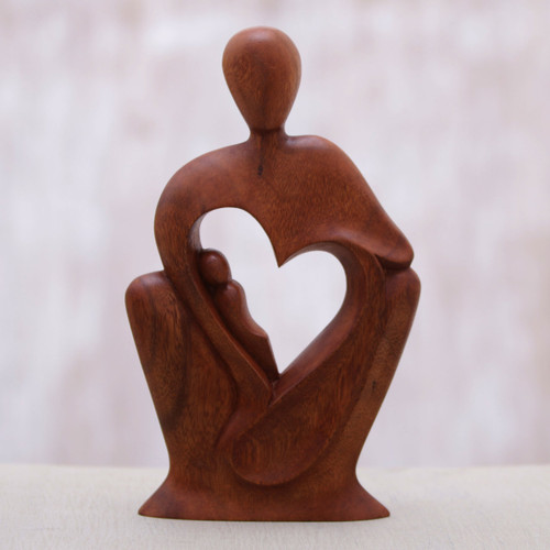 Mother and Child Natural Suar Wood Statuette 'Mother's Tenderness'