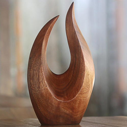 Hand Carved Natural Suar Wood Fire Flames Sculpture 'Fire Flames'