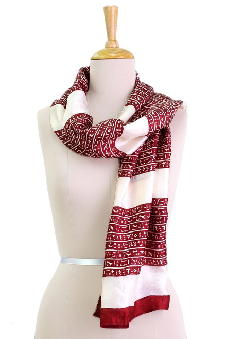 Hand Woven Silk Scarf in Ecru and Claret Red from India 'Ancient Script in Claret'