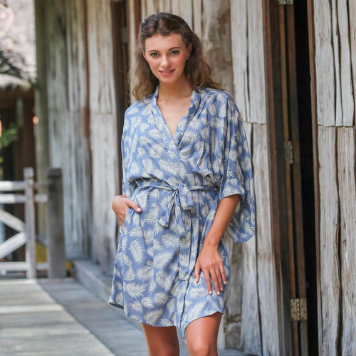 100% Rayon Ivory and Cadet Blue Robe from Bali 'Windy Beach in Cadet Blue'