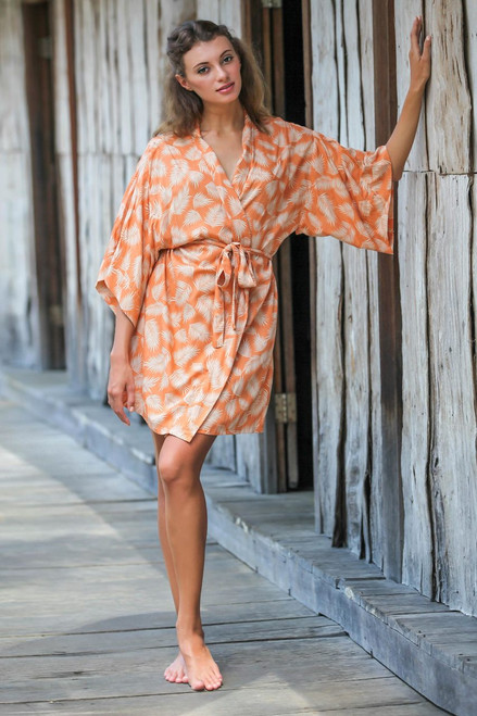 Balinese Rayon Print Robe in Ivory and Orange 'Windy Beach in Orange'