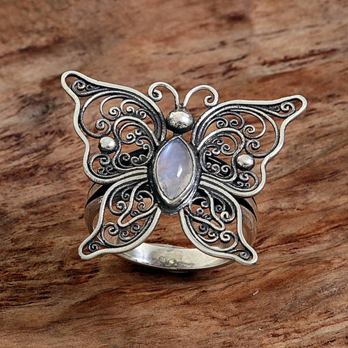 Rainbow Moonstone Butterfly Cocktail Ring from Indonesia 'Open Wings'