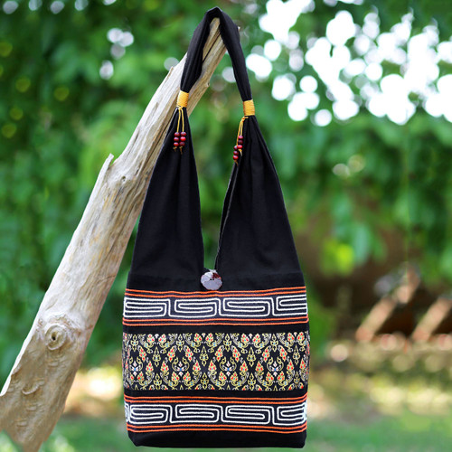 Black Cotton Blend Shoulder Bag from Thailand 'Charming Thai in Black'