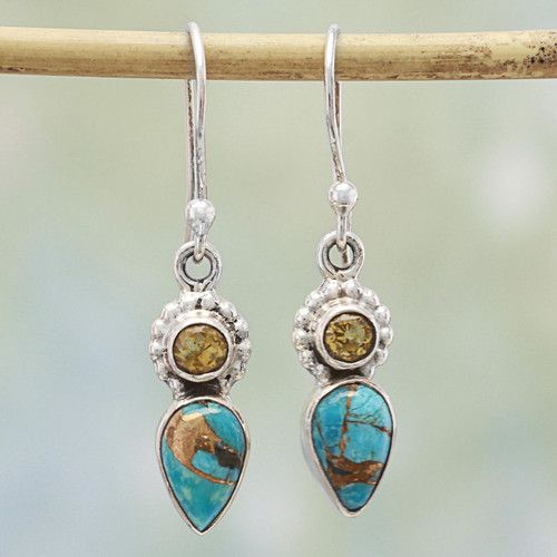 Citrine and Composite Turquoise Dangle Earrings from India 'Watery Allure'