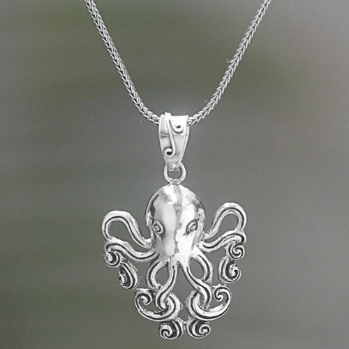 Sterling Silver Pendant Necklace of an Octopus 'Octopus of the Deep'