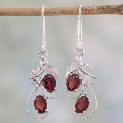 Handcrafted Garnet and Sterling Silver Dangle Earrings 'Crimson Passion'