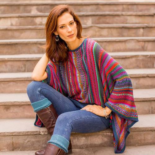 Colorful Striped Alpaca Wool Blend Sweater from Peru 'Fiesta of Color'