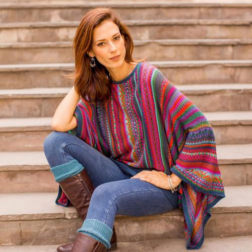 Colorful Striped Alpaca Wool Blend Sweater from Peru 'Fiesta of Color'