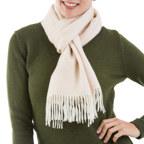 100% Baby Alpaca Wool Buff Scarf from Peru 'Lovely Buff'