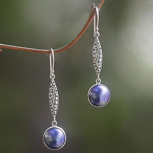 Cultured Mabe Pearl and Sterling Silver Dangle Earrings 'Twilight Blue'