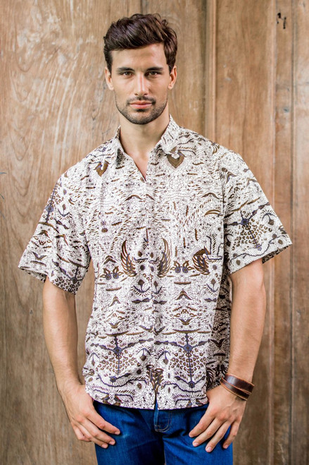Men's Brown & White Short Sleeve Cotton Batik Button Shirt 'Continuous Love'
